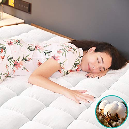 Vekkia Twin Mattress Pad Cover - Quilted Fitted, Overfilled Bed Topper,...