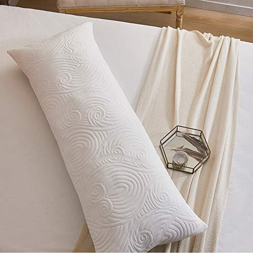 DOWNCOOL Body Pillow- Removable Zippered Bamboo Outer Pillow Cover-...