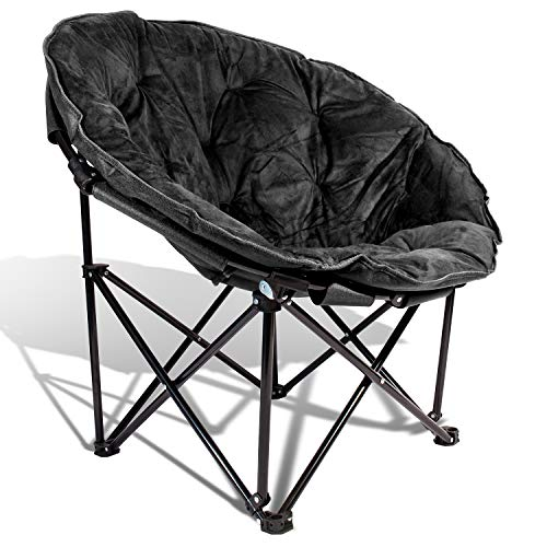 Extra Comfort Folding Moon Chair Saucer with Suede Pad for Any Living Room,...