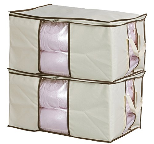 MISSLO Jumbo Zippered Storage Bags for Closet King Comforter, Clothes,...