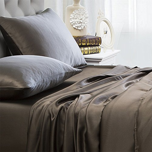 Orose 4Pcs Charmeuse Mulberry Silk Bed Sheet Set,Seamless, Deep Pocket...