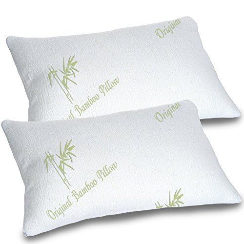 Bamboo Pillows for Sleeping Set of 2 - Standard Queen Size - Adjustable...