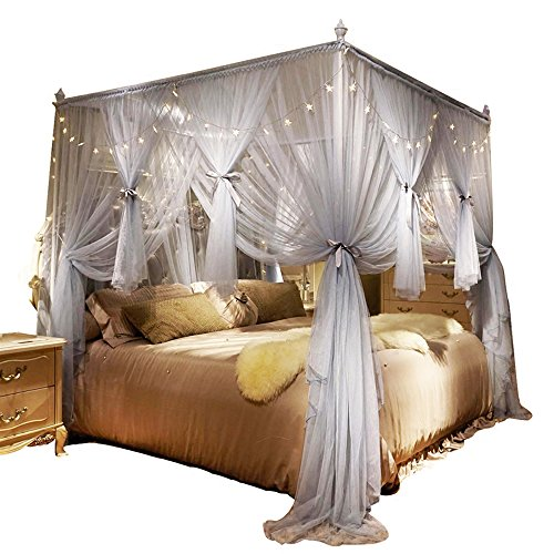 Nattey 4 Corners Post Canopy Bed Curtain for Girls Boys Adults - 4 Opening...
