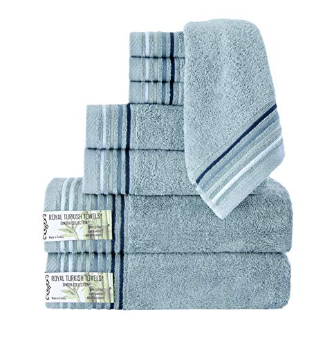 Classic Turkish Towels 8 Piece Luxury Bamboo Cotton Fiber Towel Set - Silky...