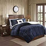 Woolrich Alton Plush to Sherpa Down Alternative Comforter Set Navy/Ivory...