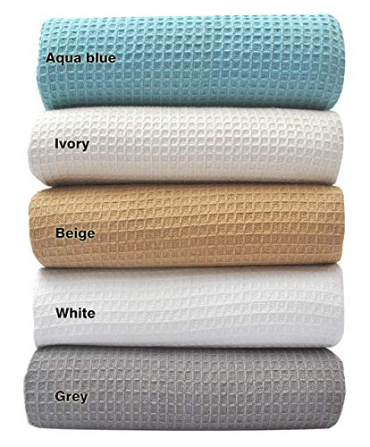 Tex Trend 100% Cotton Blankets Queen Size, Ivory/Cream Color - Soft Premium...