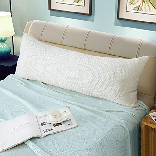WhatsBedding Full Body Pillows with Pillowcase -Removable Zippered Bamboo...