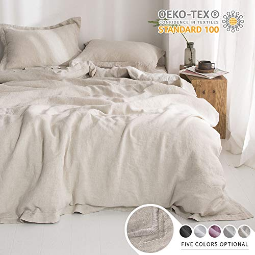 Simple&Opulence 100% Linen Duvet Cover Set with Embroidery Stone Washed -...