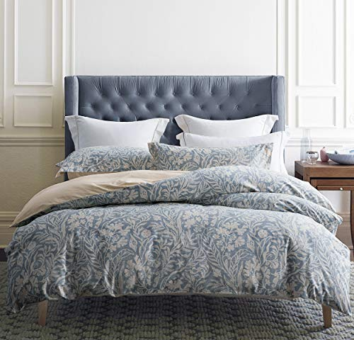 SLEEPBELLA Queen Size Comforter Set Beige & Bluish Grey Botanical...