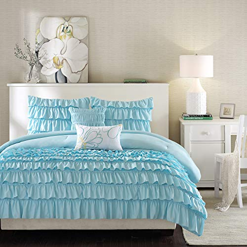 Intelligent Design Cozy Comforter Casual Waterfall Multi Layer Ruffle All...