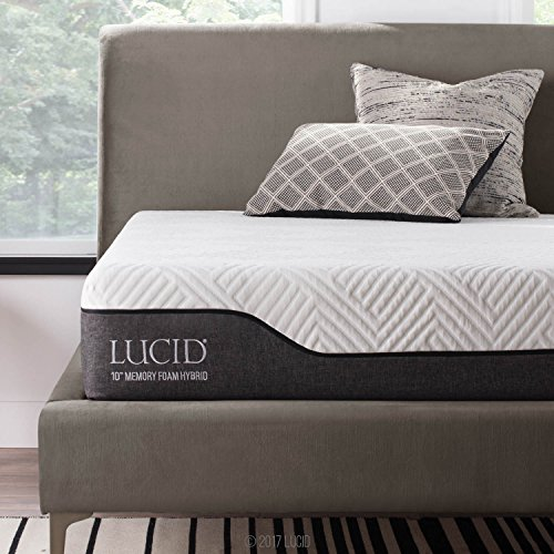 LUCID 10 Inch Twin XL Hybrid Mattress - Bamboo Charcoal and Aloe Vera...