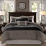 Madison Park - Palmer 7 Piece Comforter Set - Black and Gray - California...