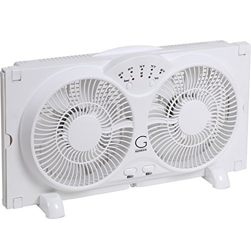 Genesis Twin Window Fan with 9 Inch Blades, High Velocity Reversible...