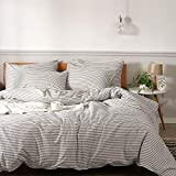 JELLYMONI 100% Natural Cotton 3pcs Striped Duvet Cover Sets,White Duvet...