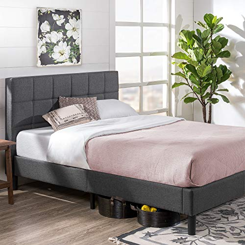Zinus Lottie Upholstered Platform Grey Bed Frame | Model | Queen