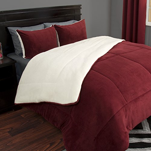 Lavish Home 66-401-K-B 3 Piece Sherpa/Fleece Comforter Set, King, Burgandy,...
