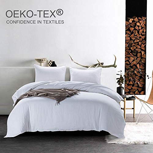 meadow park Stone Washed French Linen Duvet Cover Set 3 Pieces - Super...