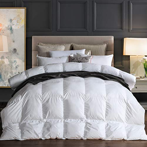 Goose Down Comforter 100% Egyptian Cotton 750+ Fill Power Insert King...