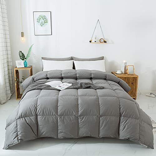 WhatsBedding 100% Cotton Down Comforter Goose Duck Down and Feather Filling...