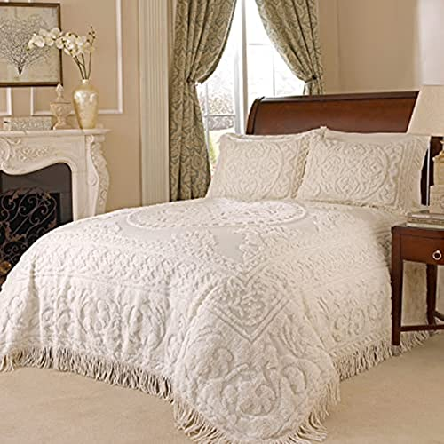 Beatrice Home Fashions Medallion Chenille, King, Ivory