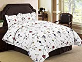 Tribeca Living Flannel Floral Garden Printed 170 GSM Duvet Cover Set, Queen
