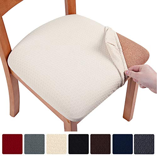 smiry Stretch Spandex Jacquard Dining Room Chair Seat Covers, Removable...
