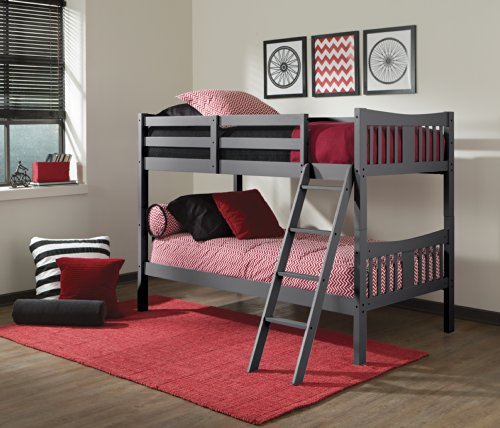 Storkcraft Caribou Solid Hardwood Twin Bunk Bed with Ladder and Safety...