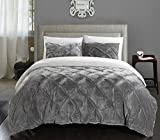 Chic Home 3 Piece Josepha Pinch Pleated Ruffled & Pintuck Sherpa Lined...
