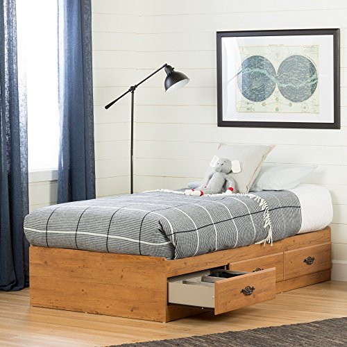 South Shore Prairie Collection Twin Bed with Storage - Platform Bed with 3...
