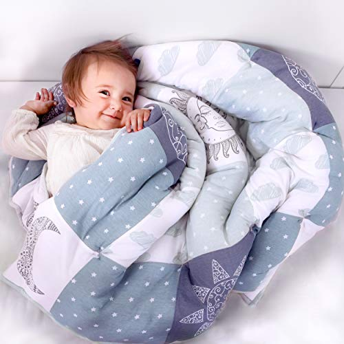 Cambria Baby Organic Cotton Baby Quilt. Thick Comforter Blanket with...