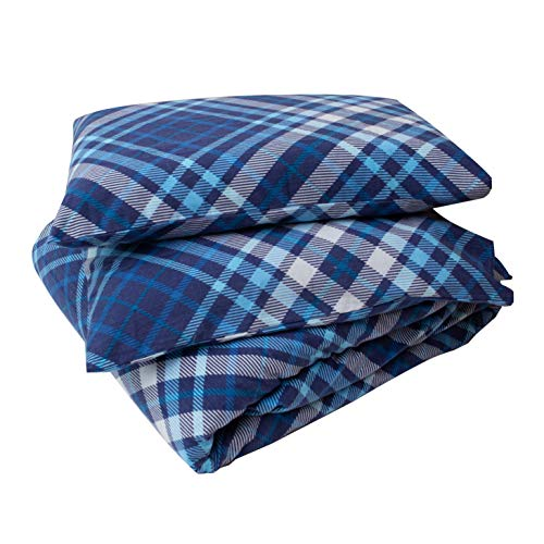 Friends at Home 180 Gram Cotton Heavyweight Flannel Duvet Cover Sets (Blue,...