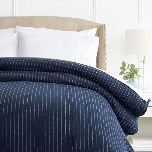 Pinzon 160 Gram Pinstripe Flannel Cotton Duvet Cover, Full / Queen, Navy...