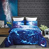 KINBEDY 3D Tencel Cotton 3PC Blue Galaxy Comforter Sets Queen Full Size for...
