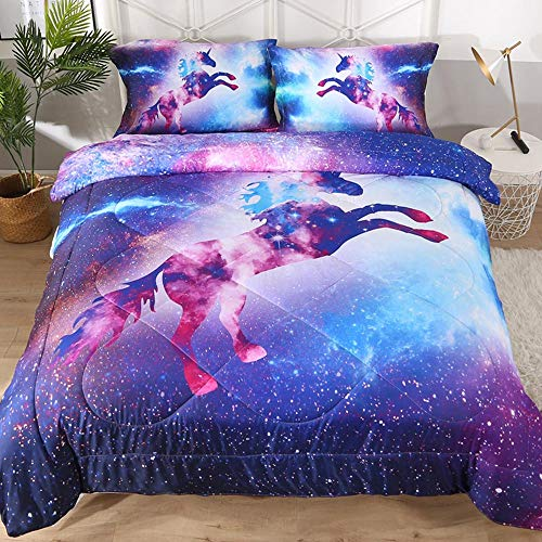 Blue and Purple Galaxy Unicorn Comforter Sets , Boys and Girls Quilted...