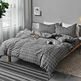 Queen Duvet Cover Set Gray, 3 Pieces 1200 TC Luxury Microfiber Down...
