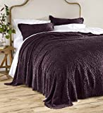 Plow & Hearth Tufted Chenille Cotton King Bedspread, Eggplant