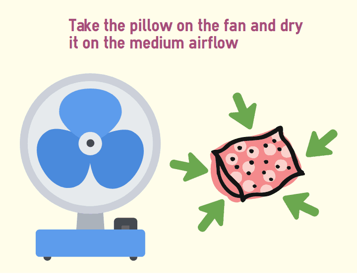 Take the pillow on the fan and dry it on the medium airflow
